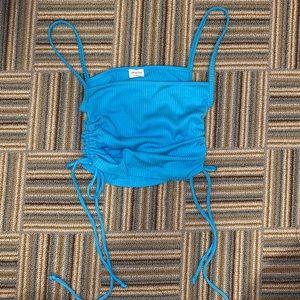 Aritzia blue tie crop top